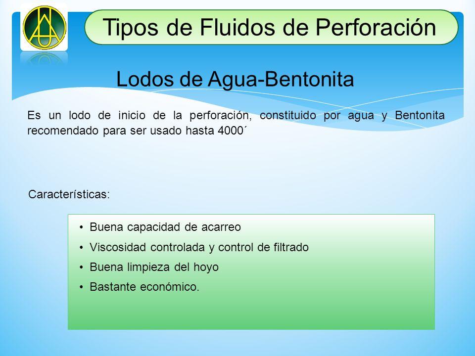 Lodos de Agua-Bentonita Es un lodo de inicio de la perforación, constituido por agua y Bentonita recomendado para ser usado hasta 4000´ Característica