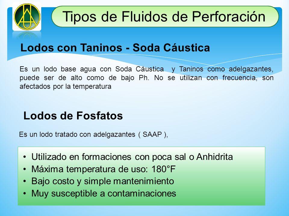 Lodos con Taninos - Soda Cáustica Es un lodo base agua con Soda Cáustica y Taninos como adelgazantes, puede ser de alto como de bajo Ph. No se utiliza