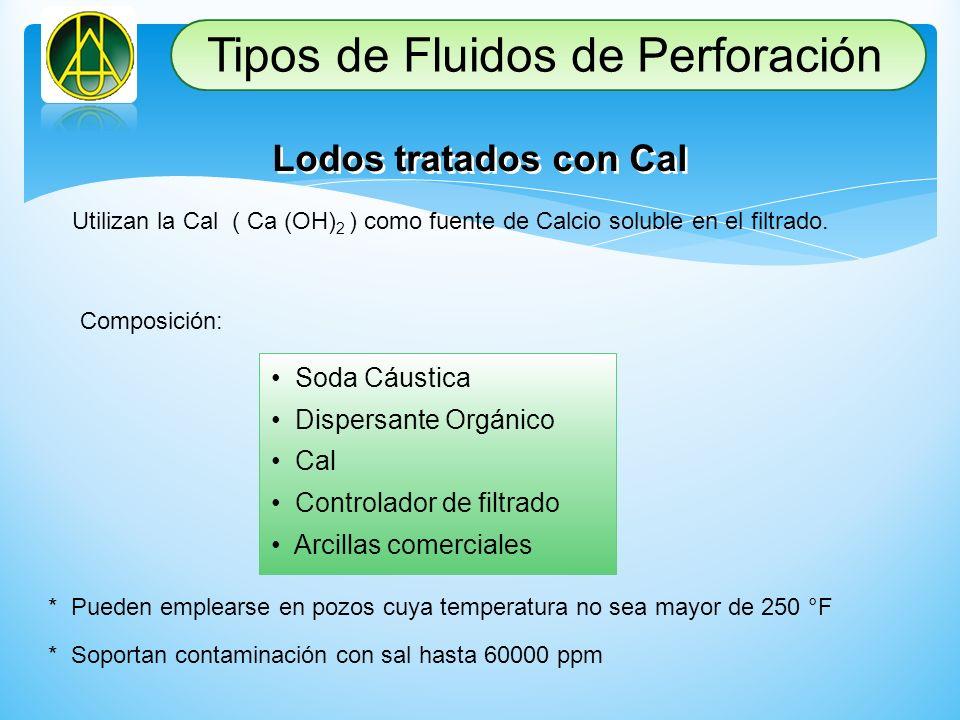 Lodos tratados con Cal Utilizan la Cal ( Ca (OH) 2 ) como fuente de Calcio soluble en el filtrado. Composición: Soda Cáustica Dispersante Orgánico Cal