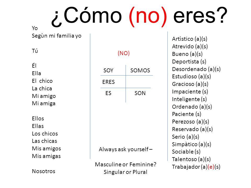 SOY ERES ES SOMOS SON Artìstico (a)(s) Atrevido (a)(s) Bueno (a)(s) Deportista (s) Desordenado (a)(s) Estudioso (a)(s) Gracioso (a)(s) Impaciente (s)