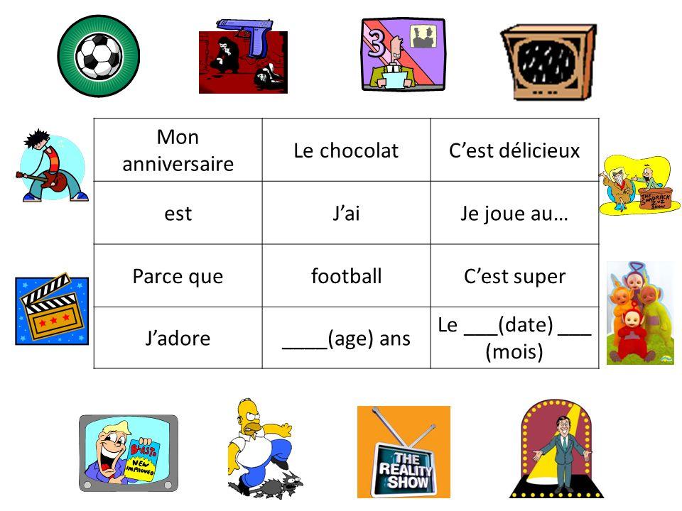 Mon anniversaire Le chocolatCest délicieux estJaiJe joue au… Parce quefootballCest super Jadore____(age) ans Le ___(date) ___ (mois)