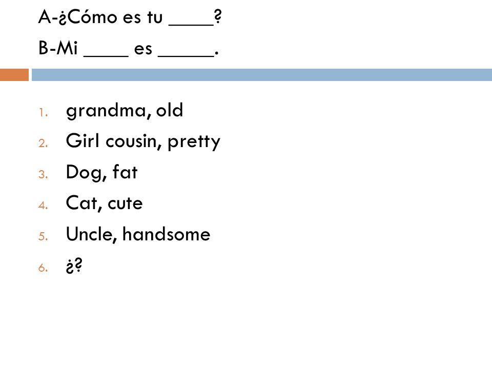 A-¿Cómo es tu ____? B-Mi ____ es _____. 1. grandma, old 2. Girl cousin, pretty 3. Dog, fat 4. Cat, cute 5. Uncle, handsome 6. ¿?