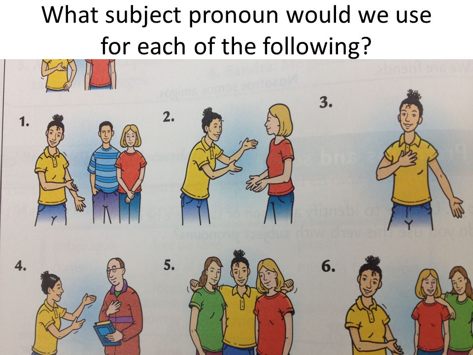 What subject pronoun would we use for each of the following