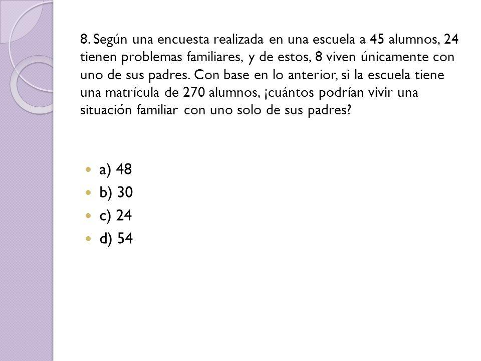 8. Según una encuesta realizada en una escuela a 45 alumnos, 24 tienen problemas familiares, y de estos, 8 viven únicamente con uno de sus padres. Con