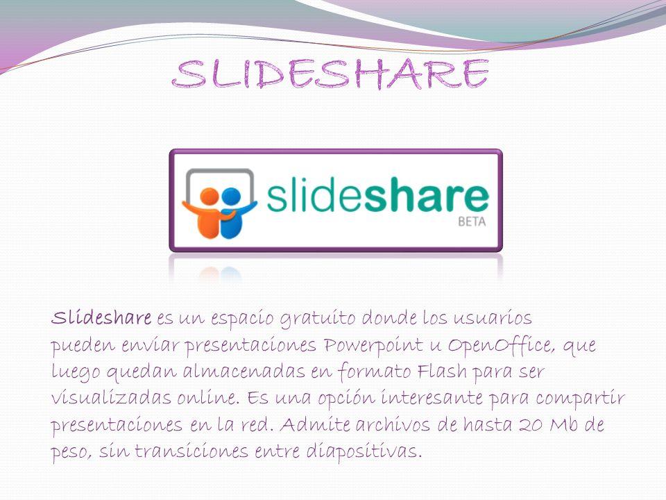 Slideshare es un espacio gratuito donde los usuarios pueden enviar presentaciones Powerpoint u OpenOffice, que luego quedan almacenadas en formato Flash para ser visualizadas online.