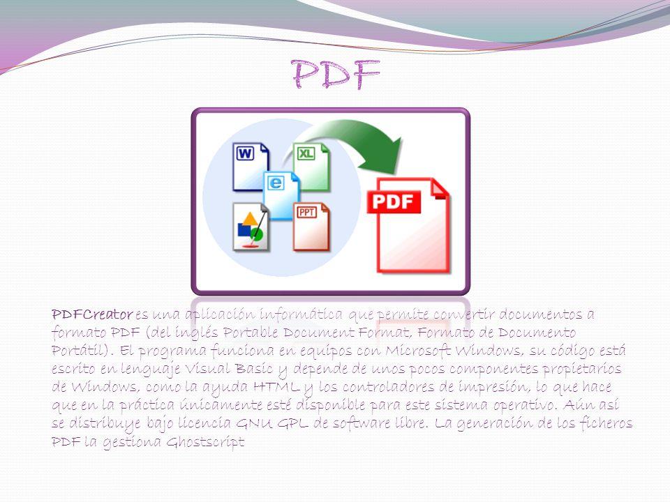 PDFCreator es una aplicación informática que permite convertir documentos a formato PDF (del inglés Portable Document Format, Formato de Documento Portátil).