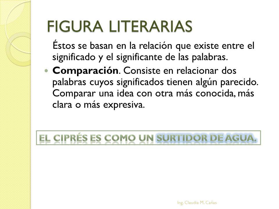 FIGURA LITERARIAS Éstos se basan en la relación que existe entre el significado y el significante de las palabras. Comparación. Consiste en relacionar
