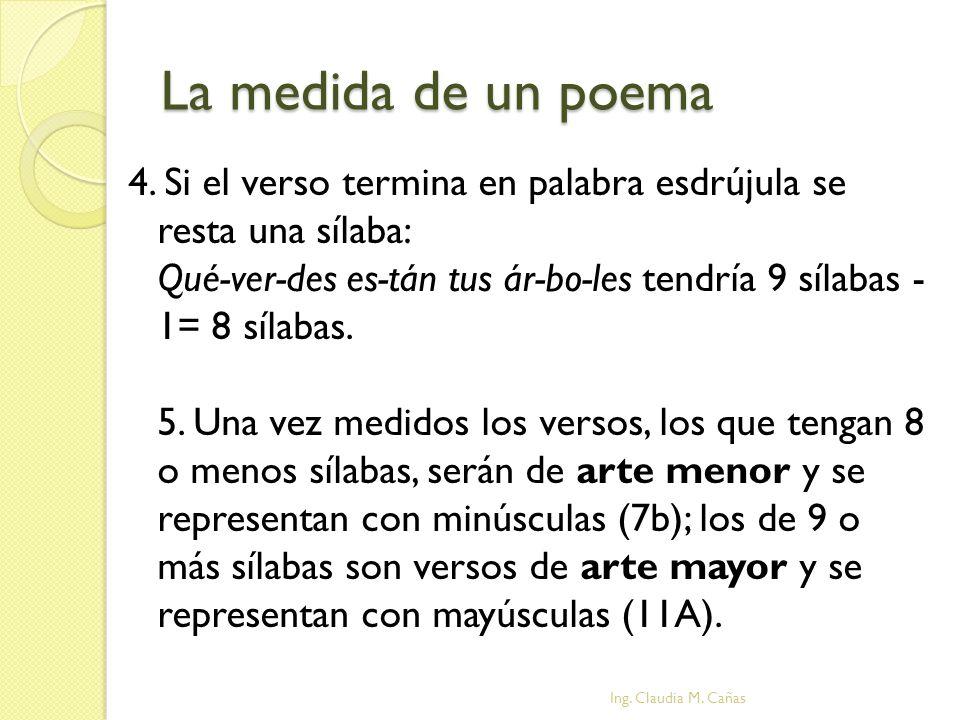 La medida de un poema 4. Si el verso termina en palabra esdrújula se resta una sílaba: Qué-ver-des es-tán tus ár-bo-les tendría 9 sílabas - 1= 8 sílab
