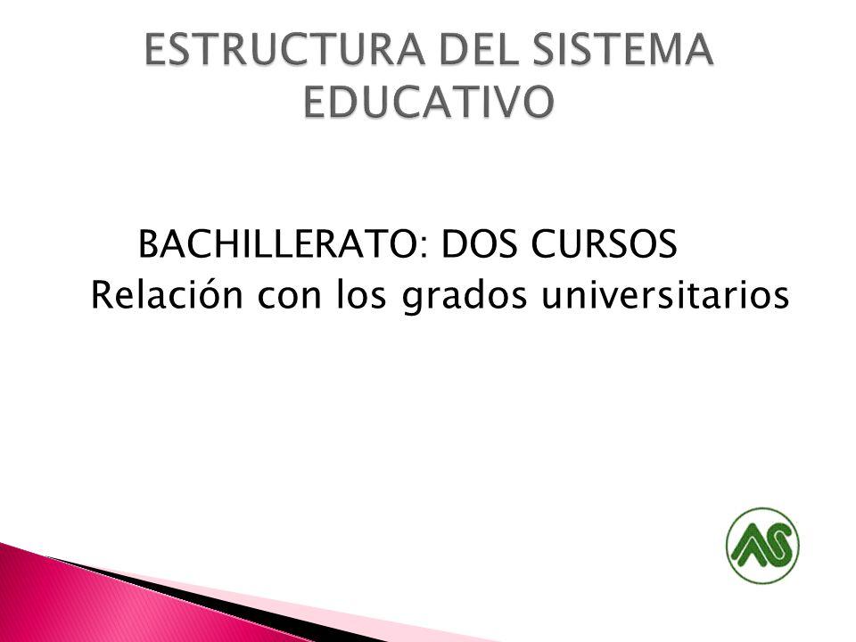 BACHILLERATO: DOS CURSOS Relación con los grados universitarios