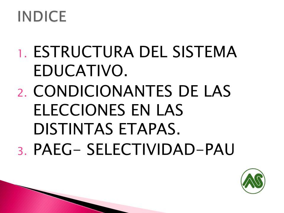 1. ESTRUCTURA DEL SISTEMA EDUCATIVO. 2. CONDICIONANTES DE LAS ELECCIONES EN LAS DISTINTAS ETAPAS. 3. PAEG- SELECTIVIDAD-PAU