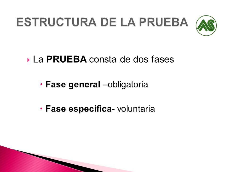 La PRUEBA consta de dos fases Fase general –obligatoria Fase especifica- voluntaria