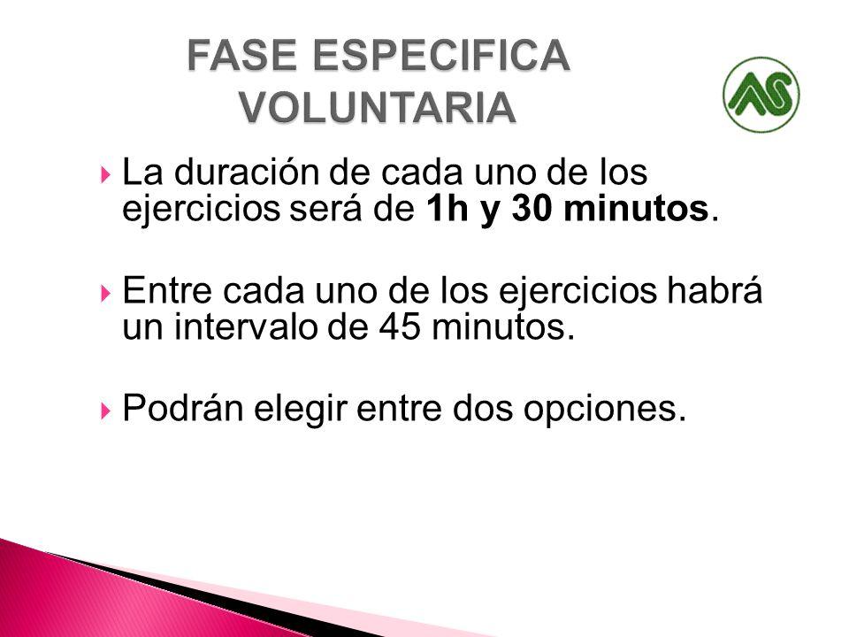 La duración de cada uno de los ejercicios será de 1h y 30 minutos. Entre cada uno de los ejercicios habrá un intervalo de 45 minutos. Podrán elegir en