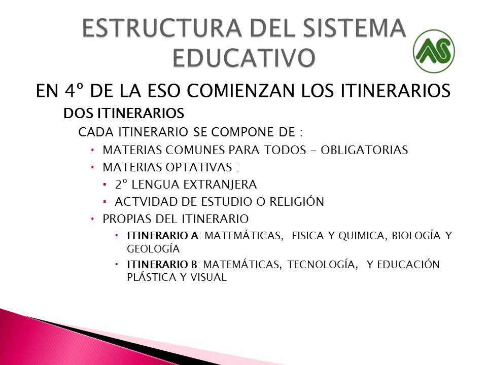 EN 4º DE LA ESO COMIENZAN LOS ITINERARIOS DOS ITINERARIOS CADA ITINERARIO SE COMPONE DE : MATERIAS COMUNES PARA TODOS - OBLIGATORIAS MATERIAS OPTATIVA