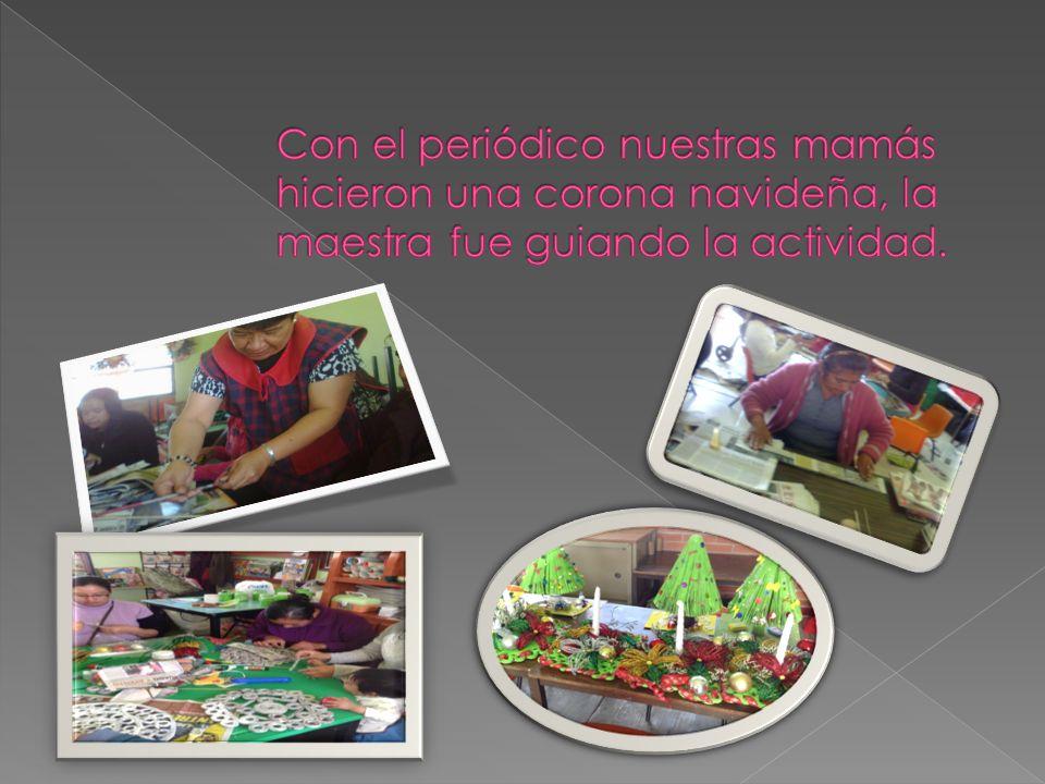 Cada uno de los grupos de la escuela se organizo para elaborar manualidades navideñas con material de reciclable como periódico, revistas, cartón, y a