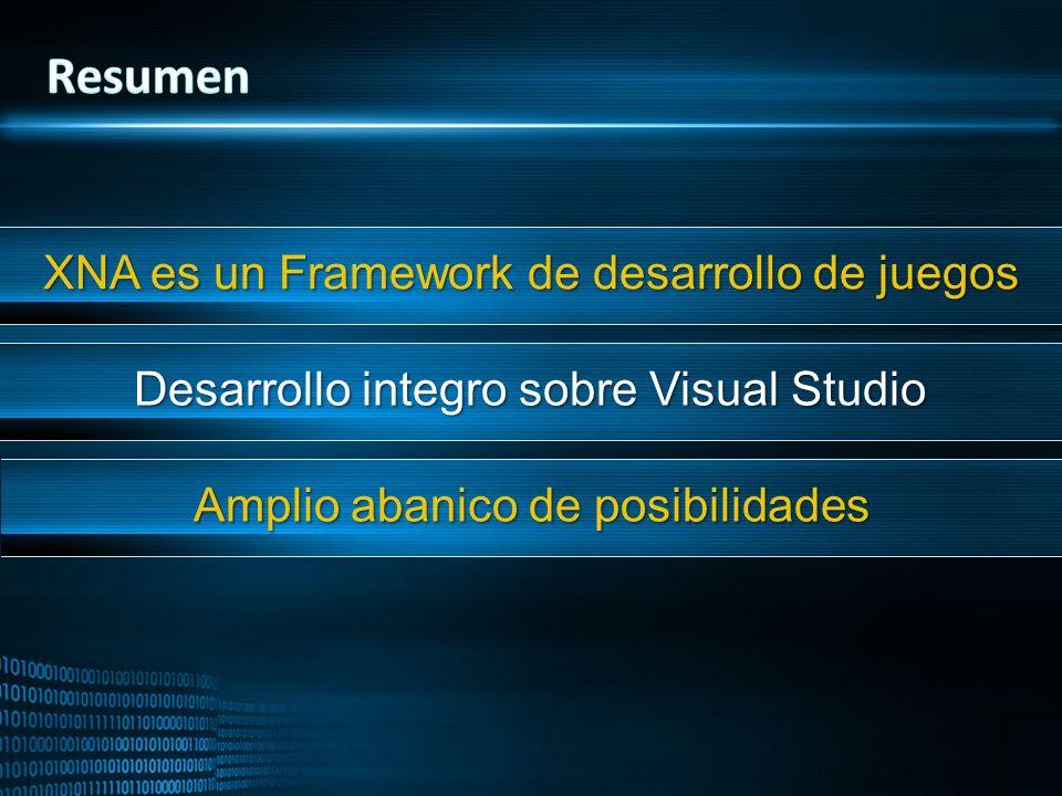 XNA es un Framework de desarrollo de juegos Desarrollo integro sobre Visual Studio Amplio abanico de posibilidades
