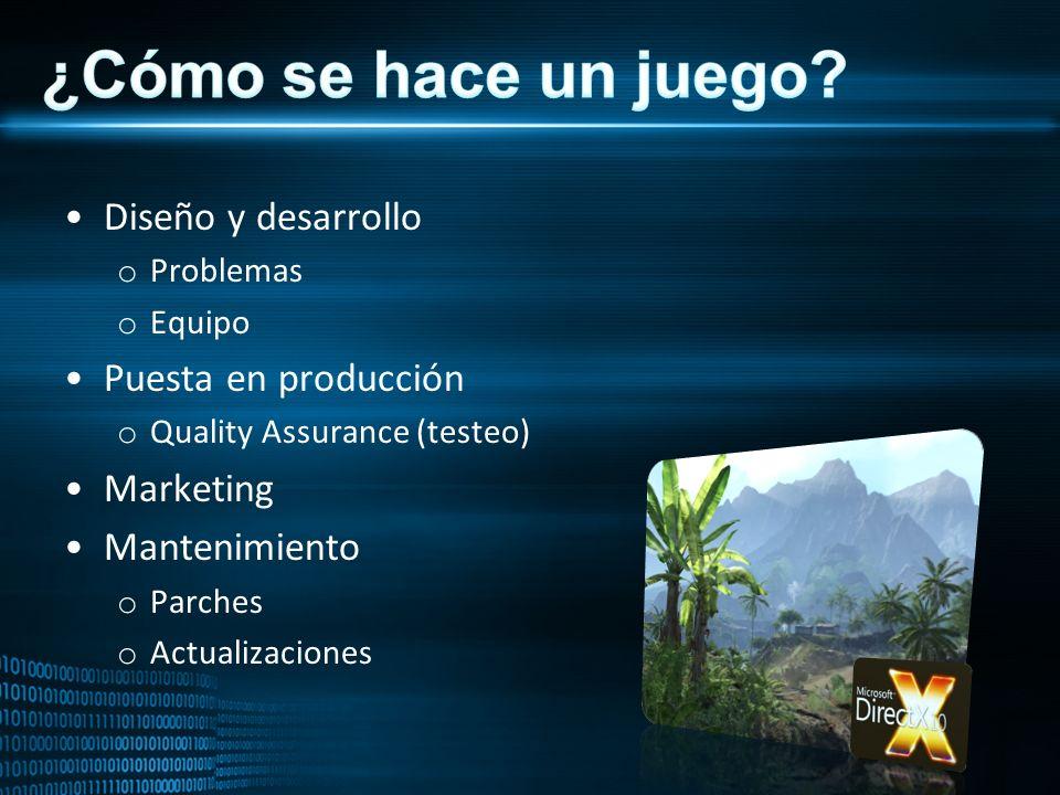 Diseño y desarrollo o Problemas o Equipo Puesta en producción o Quality Assurance (testeo) Marketing Mantenimiento o Parches o Actualizaciones