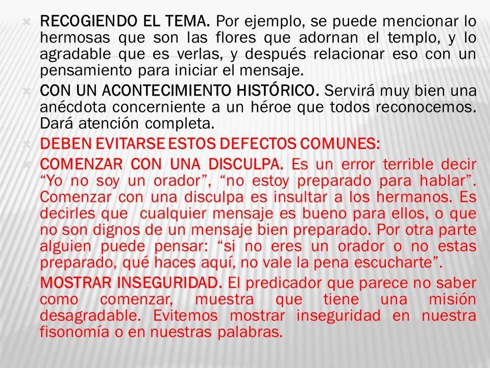 RECOGIENDO EL TEMA.
