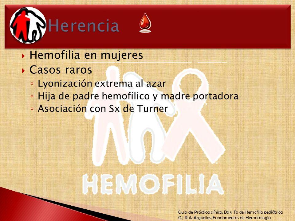 Guia de Práctica clínica: Dx y Tx de Hemofilia pediátrica G.J Ruiz Argüelles, Fundamentos de Hematología Hemofilia en mujeres Casos raros Lyonización