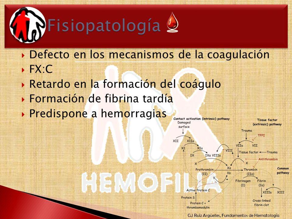 G.J Ruiz Argüelles, Fundamentos de Hematología Defecto en los mecanismos de la coagulación FX:C Retardo en la formación del coágulo Formación de fibri