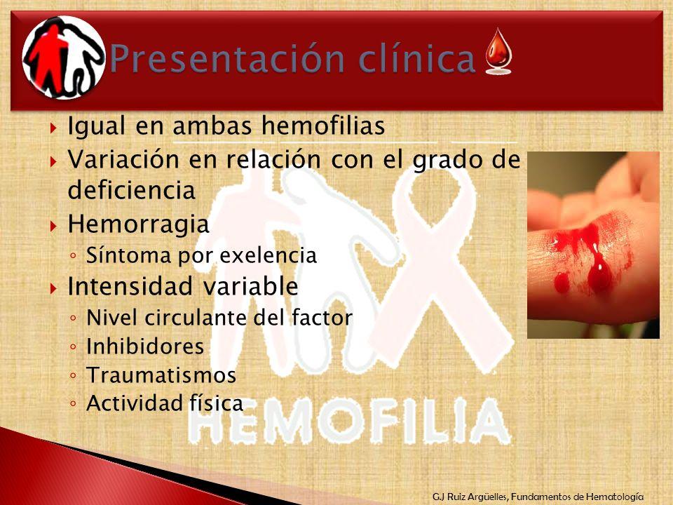 G.J Ruiz Argüelles, Fundamentos de Hematología Igual en ambas hemofilias Variación en relación con el grado de deficiencia Hemorragia Síntoma por exel