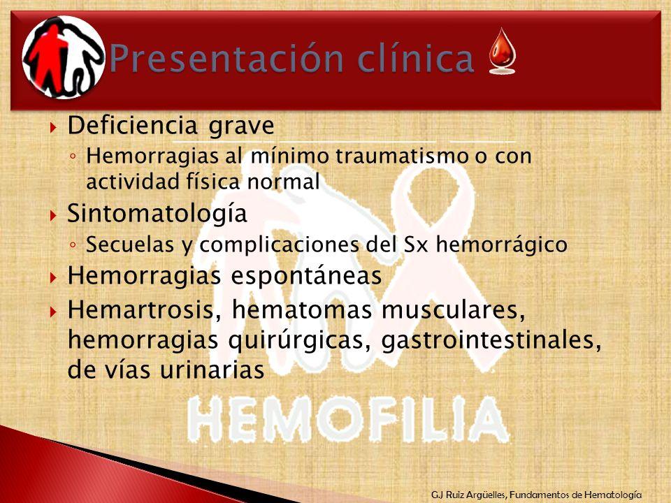 G.J Ruiz Argüelles, Fundamentos de Hematología Deficiencia grave Hemorragias al mínimo traumatismo o con actividad física normal Sintomatología Secuel