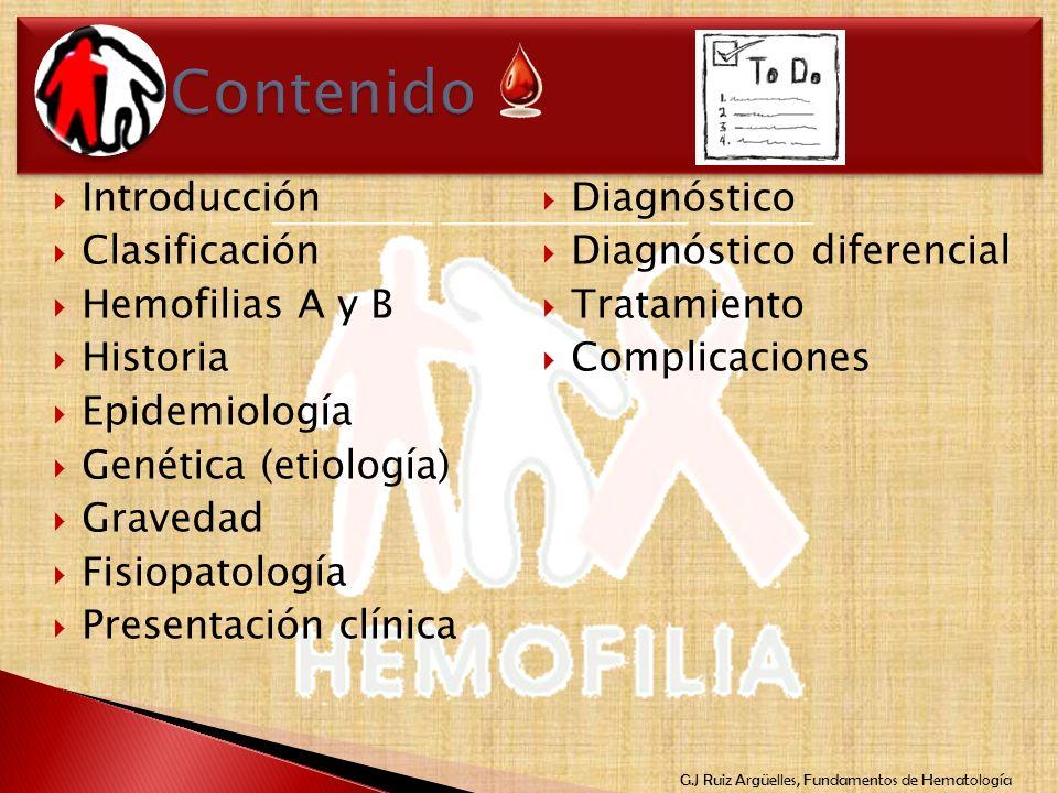 G.J Ruiz Argüelles, Fundamentos de Hematología Introducción Clasificación Hemofilias A y B Historia Epidemiología Genética (etiología) Gravedad Fisiop