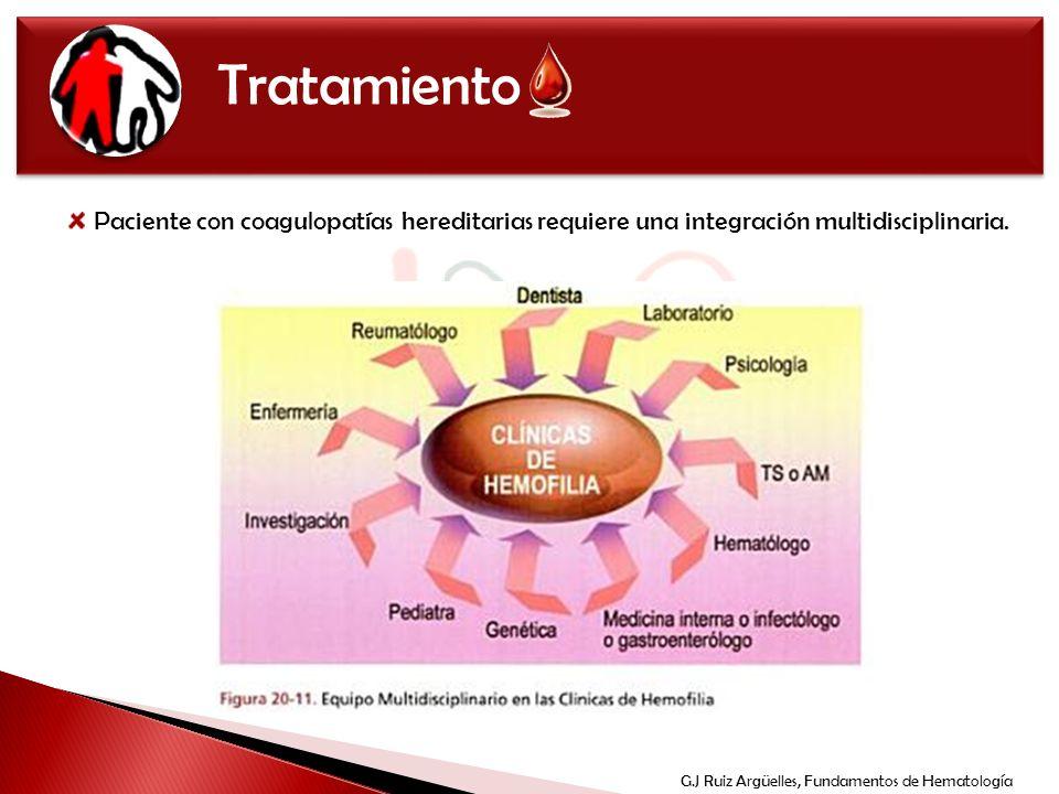 Tratamiento Paciente con coagulopatías hereditarias requiere una integración multidisciplinaria. G.J Ruiz Argüelles, Fundamentos de Hematología