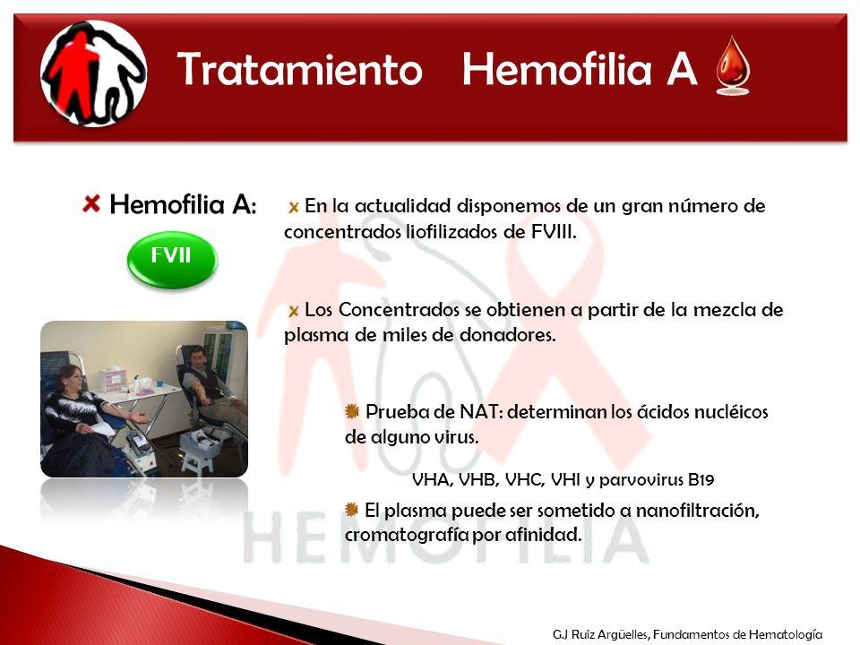 Tratamiento Hemofilia A Hemofilia A: En la actualidad disponemos de un gran número de concentrados liofilizados de FVIII. Los Concentrados se obtienen