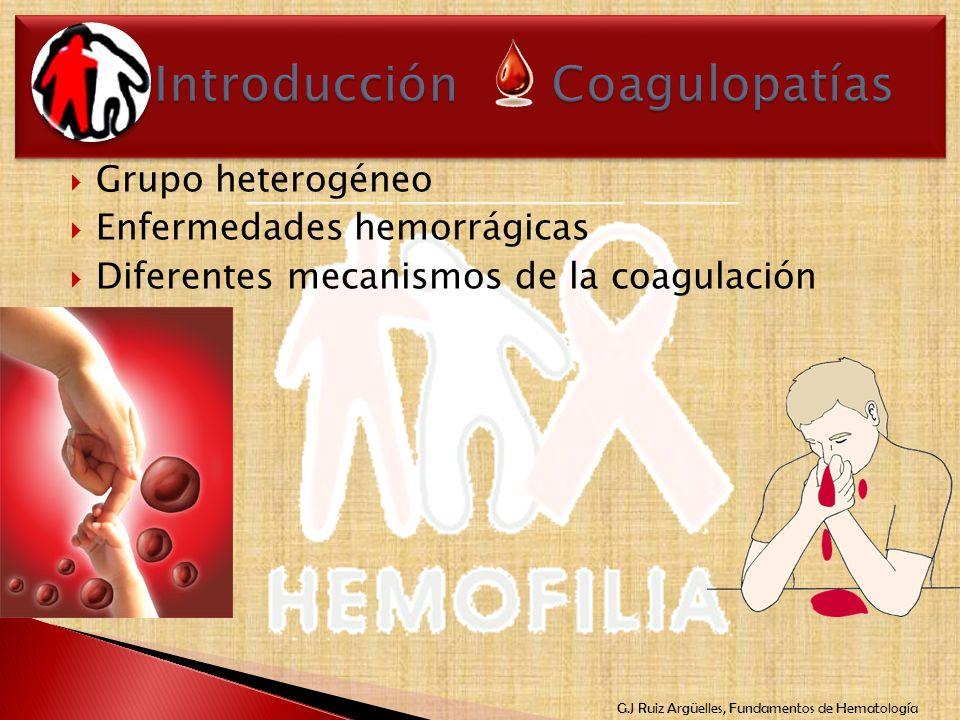 G.J Ruiz Argüelles, Fundamentos de Hematología Grupo heterogéneo Enfermedades hemorrágicas Diferentes mecanismos de la coagulación