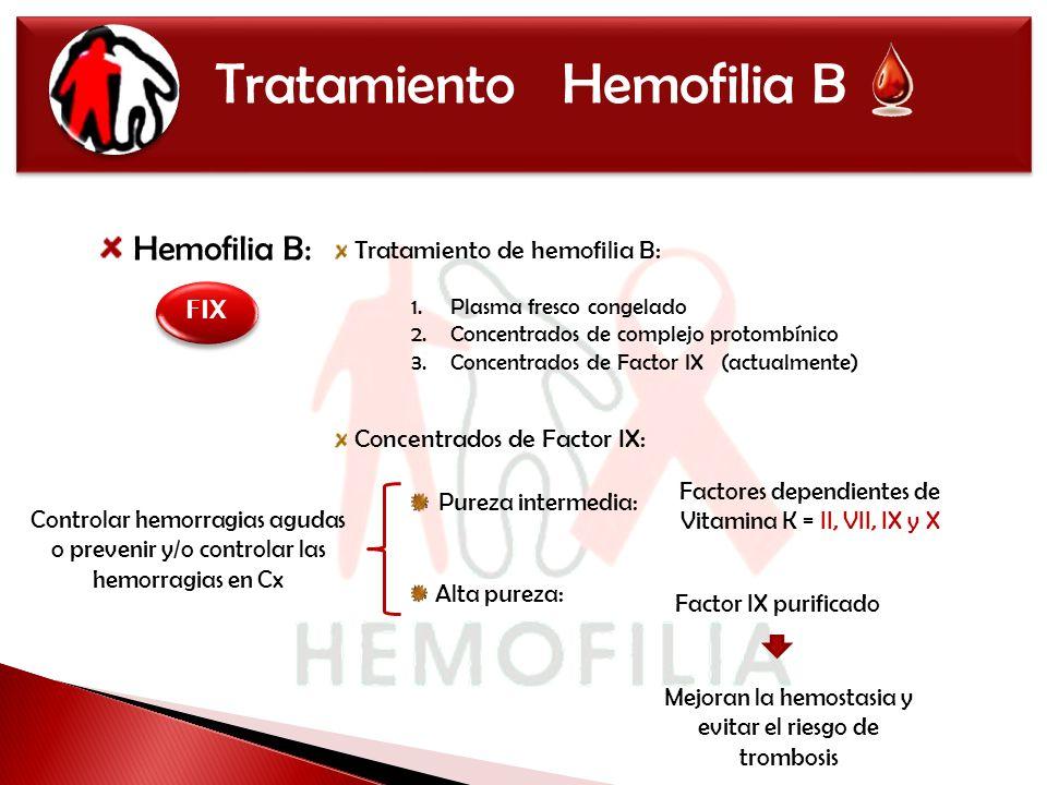 Tratamiento Hemofilia B Hemofilia B: Tratamiento de hemofilia B: Concentrados de Factor IX: FIX 1.Plasma fresco congelado 2.Concentrados de complejo p