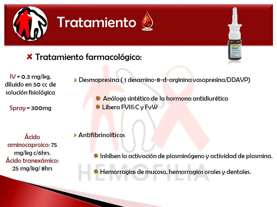 Tratamiento Tratamiento farmacológico: Desmopresina ( 1 desamino-8-d-arginina vasopresina/DDAVP) Antifibrinolíticos Inhiben la activación de plasminóg