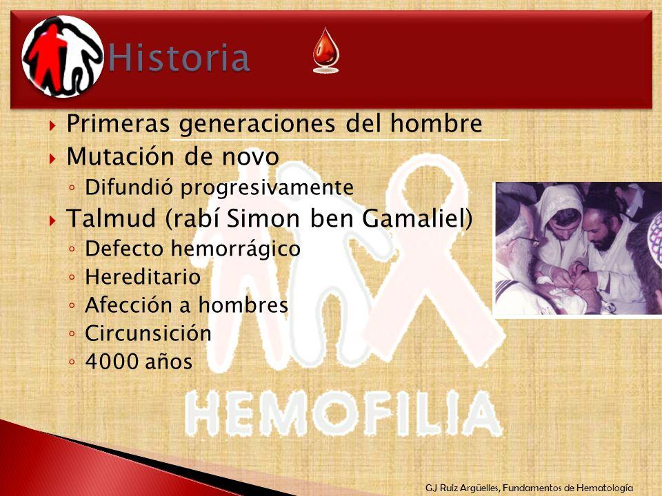 G.J Ruiz Argüelles, Fundamentos de Hematología Primeras generaciones del hombre Mutación de novo Difundió progresivamente Talmud (rabí Simon ben Gamal