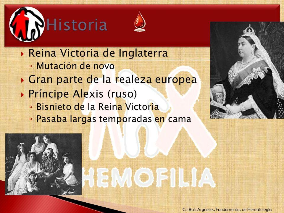 G.J Ruiz Argüelles, Fundamentos de Hematología Reina Victoria de Inglaterra Mutación de novo Gran parte de la realeza europea Príncipe Alexis (ruso) B