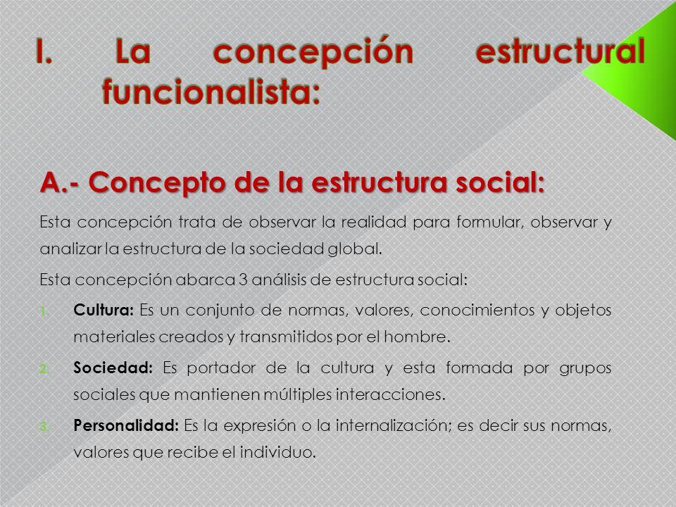 A.- Concepto de la estructura social: Esta concepción trata de observar la realidad para formular, observar y analizar la estructura de la sociedad gl
