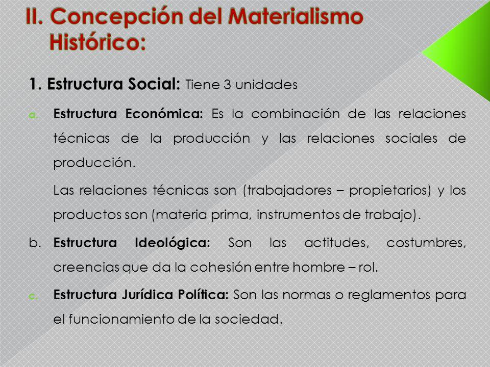 1. Estructura Social: Tiene 3 unidades a. Estructura Económica: Es la combinación de las relaciones técnicas de la producción y las relaciones sociale