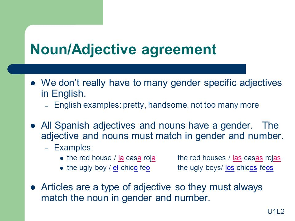 Noun/Adjective agreement We dont really have to many gender specific adjectives in English. – English examples: pretty, handsome, not too many more Al