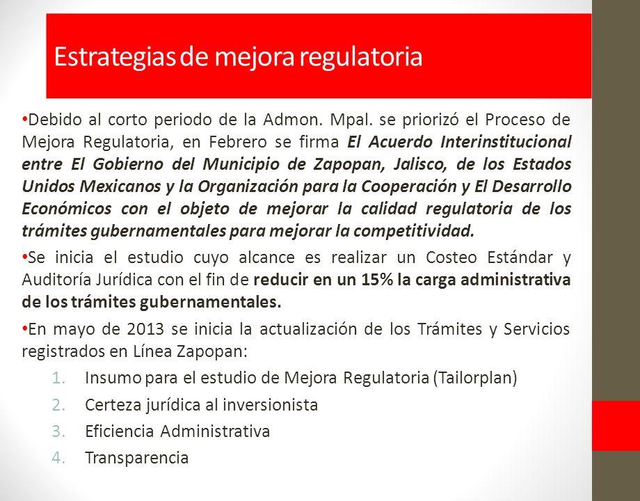 Estrategias de mejora regulatoria Debido al corto periodo de la Admon.