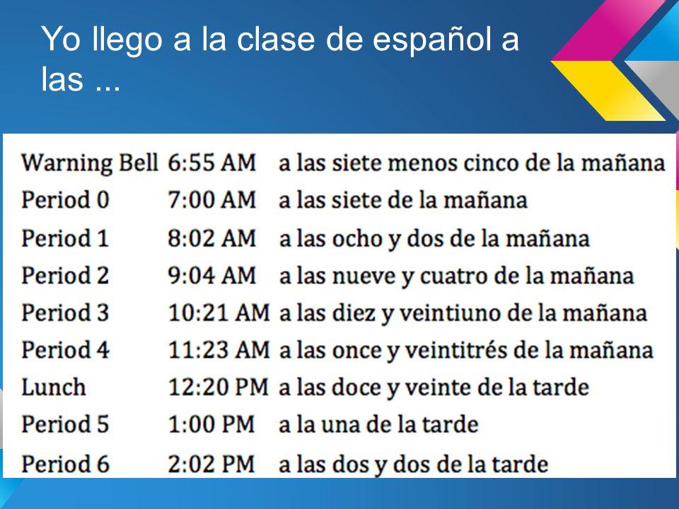 Yo llego a la clase de español a las...