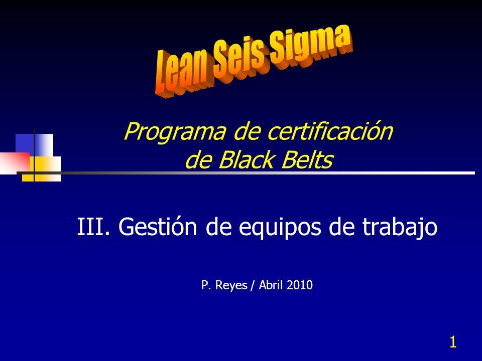 1 Programa de certificación de Black Belts III. Gestión de equipos de trabajo P. Reyes / Abril 2010