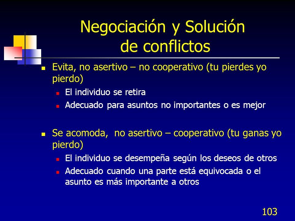 103 Negociación y Solución de conflictos Evita, no asertivo – no cooperativo (tu pierdes yo pierdo) El individuo se retira Adecuado para asuntos no im