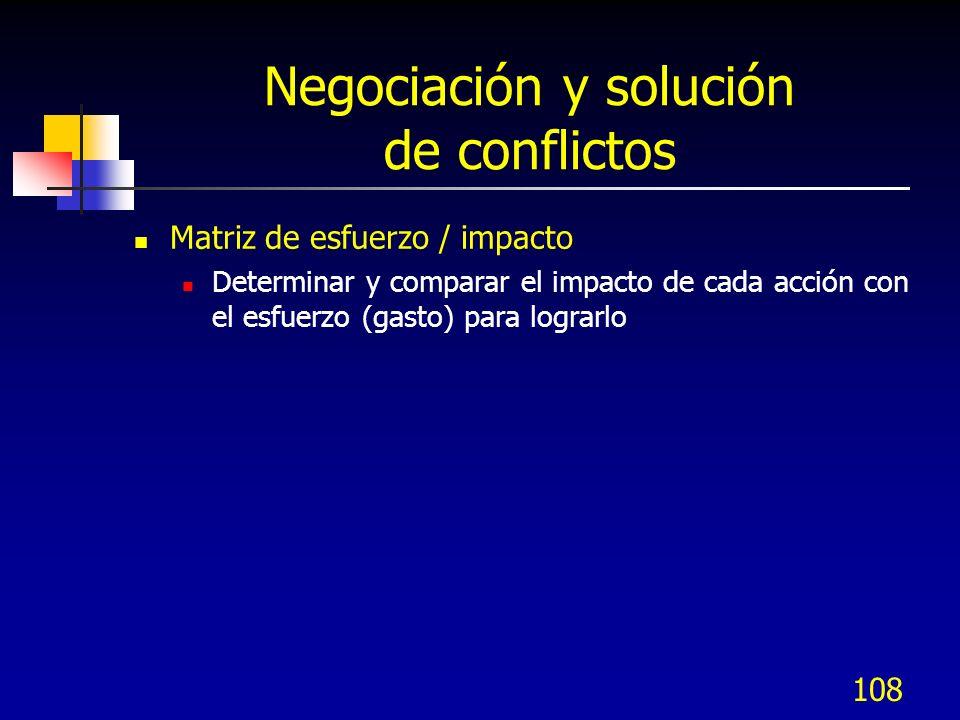 108 Negociación y solución de conflictos Matriz de esfuerzo / impacto Determinar y comparar el impacto de cada acción con el esfuerzo (gasto) para log