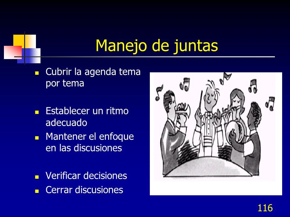116 Cubrir la agenda tema por tema Establecer un ritmo adecuado Mantener el enfoque en las discusiones Verificar decisiones Cerrar discusiones Manejo