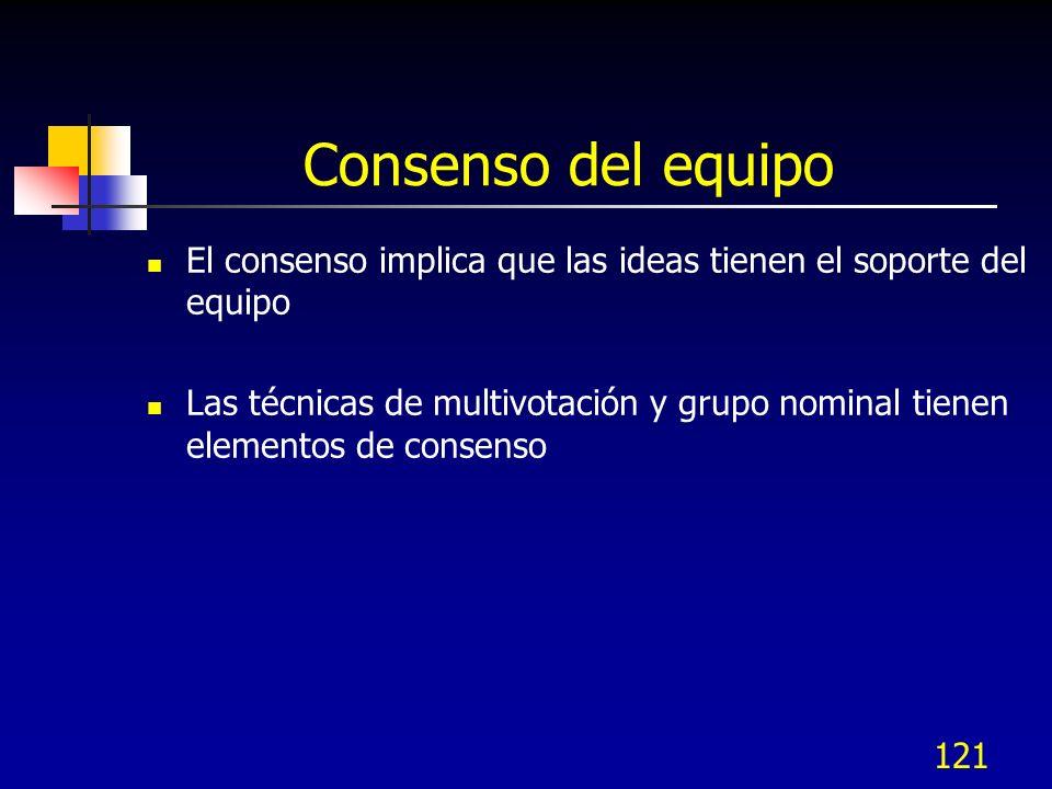 121 Consenso del equipo El consenso implica que las ideas tienen el soporte del equipo Las técnicas de multivotación y grupo nominal tienen elementos