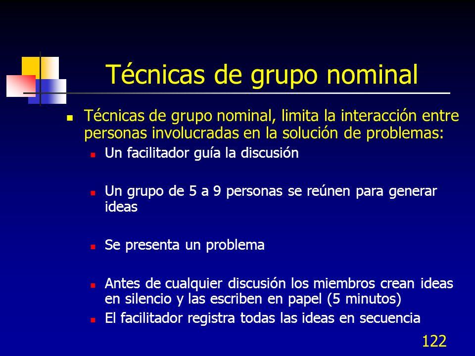 122 Técnicas de grupo nominal Técnicas de grupo nominal, limita la interacción entre personas involucradas en la solución de problemas: Un facilitador