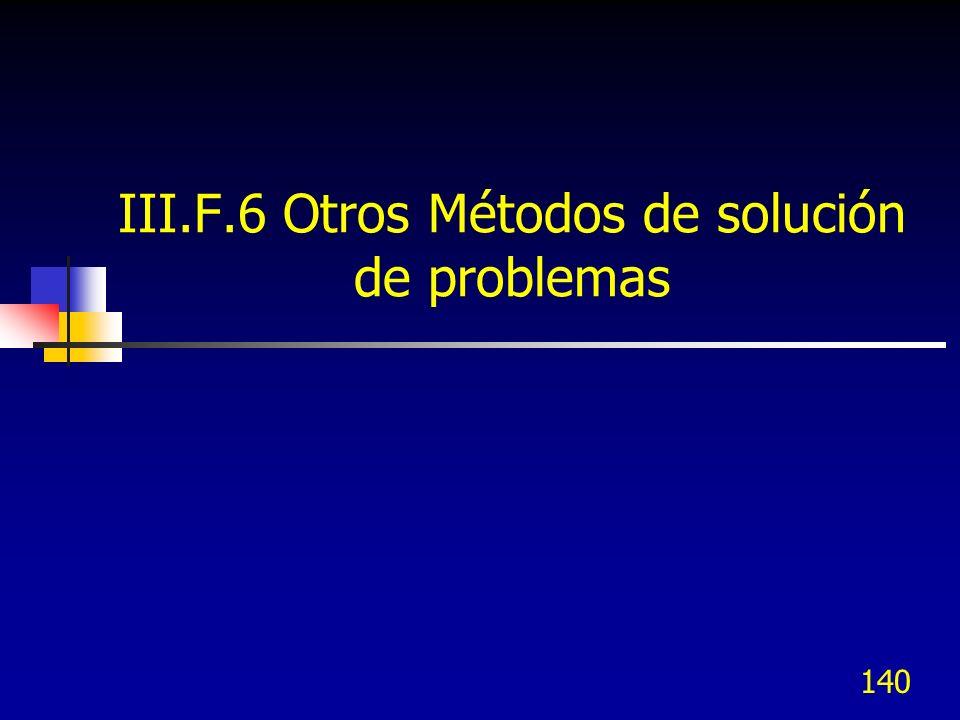 140 III.F.6 Otros Métodos de solución de problemas
