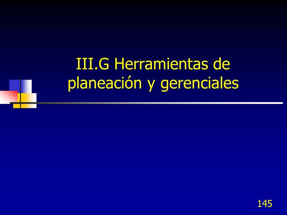 145 III.G Herramientas de planeación y gerenciales