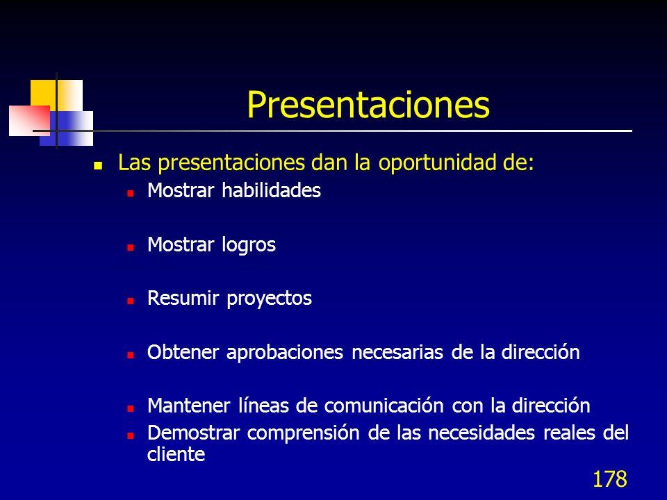 178 Presentaciones Las presentaciones dan la oportunidad de: Mostrar habilidades Mostrar logros Resumir proyectos Obtener aprobaciones necesarias de l