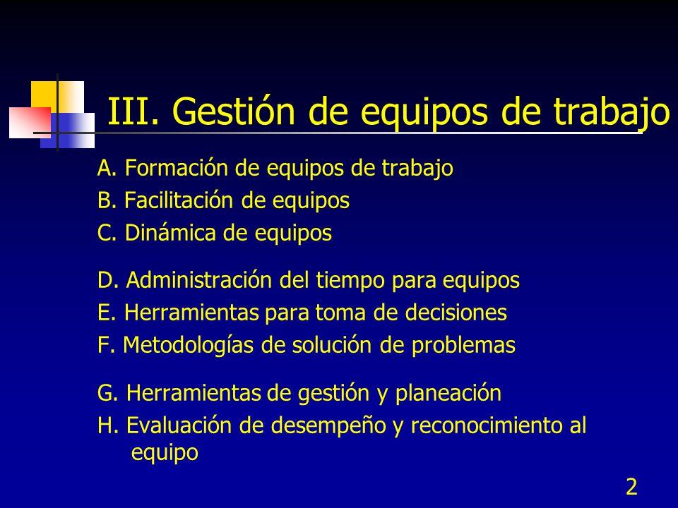 2 III. Gestión de equipos de trabajo A. Formación de equipos de trabajo B. Facilitación de equipos C. Dinámica de equipos D. Administración del tiempo