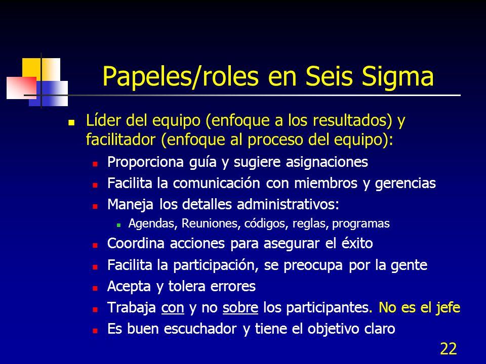 22 Papeles/roles en Seis Sigma Líder del equipo (enfoque a los resultados) y facilitador (enfoque al proceso del equipo): Proporciona guía y sugiere a