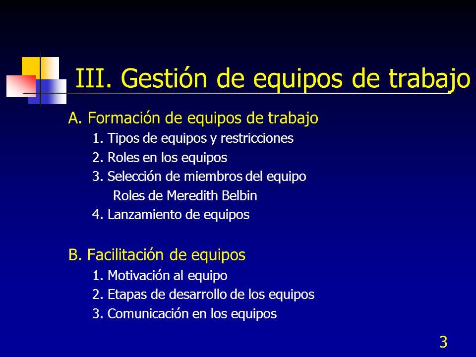 3 III. Gestión de equipos de trabajo A. Formación de equipos de trabajo 1. Tipos de equipos y restricciones 2. Roles en los equipos 3. Selección de mi